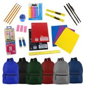 "19"" Basic Backpacks in 6 Assorted Colors with School Supply Kits"