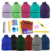 """17"""" Basic Backpacks in 12 Assorted Colors with School Supply Kits"""