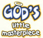 """""""God's Little Masterpiece"""" printed on white shirts"""