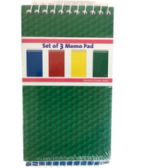 3-Pack Memo Pad - Assorted Primary Colors