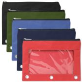 3 Ring Binder Pencil Case with Window - 5 Color Assortment