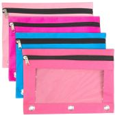 3 Ring Binder Pencil Case with Window - Girl Color Assortment