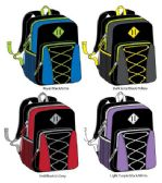 "17"" Bungee Backpacks with Side Mesh Pocket - Assorted Colors"