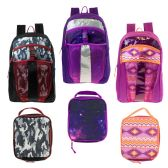 "17"" Wholesale Premium Backpacks with Lunch Box in 3 Assorted Prints"