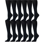 12 Pairs of Girls Knee High Socks, Cotton, Flat Knit, School Socks (8 - 9.5 ,Navy)