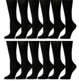 12 Pairs of Girls Knee High Socks, Cotton, Flat Knit, School Socks (7 - 8.5,Black)