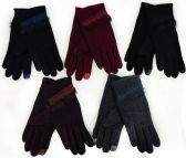 Women Winter Touch Glove with Faux Fur & Embroidery