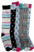 6 Pairs Of Mod And Tone Woman Designer Knee High Socks, Boot Socks (Pack F)