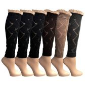 6 Pairs of Womens Leg Warmers, Warm Winter Soft Acrylic Assorted Colors by WSD (Lace) (One Size)