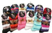 Ladies Striped Fuzzy Winter Socks