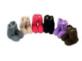 Ladies Colorful Fuzzy Slipper Boot With Rubber Grip