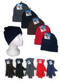 Premium Adult Cuffed Knit Hats and Women's Fleece Gloves Combo Packs