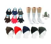 Adults Cuffed Winter Knit Hats and Magic Gloves Combo Packs
