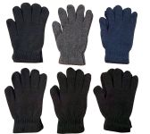 6 Pairs Of excell Solid Color Wool Gloves - Mens Womens, Stretchy so One Size