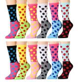 WSD Womens Value Pack Printed Crew Socks Many Colors, Soft Touch Fun Prints (Pack C)