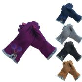 Ladies Fashion Texting Gloves With Pompom Design