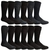 12 Pairs of excell Mens Fashion Designer Dress Socks, Cotton Blend (Assorted N)