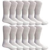 Yacht & Smith Men's Loose Fit Non-Binding Soft Cotton Diabetic Crew Socks Size 10-13 White