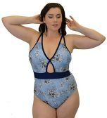 Yacht & Smith Plus Size Womens Swimsuit, Fashion One Piece Bathing Suit Tank (Floral, 1X)
