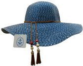 20 Pieces of Yacht & Smith Floppy Stylish Sun Hats Bow and Leather Design, Style A - Navy
