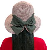 20 Pieces of Yacht & Smith Floppy Stylish Sun Hats Bow and Leather Design, Style D - Rose