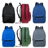 "17"" Kids Basic Black Backpack in 6 Assorted Colors"
