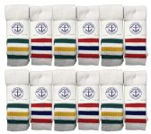 Yacht & Smith Men's Cotton Tube Socks, Referee Style, Size 10-13 White With Stripes BULK PACK