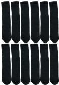 Yacht & Smith Men's Cotton Tube Socks, Referee Style, Size 10-13 Solid Black