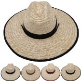 Adults Large Black Brim Straw Hat