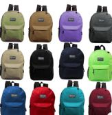 """17"""" Kids Basic Backpacks in 8 Assorted Colors"""