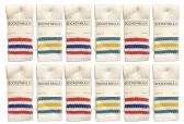 Yacht & Smith Kids Cotton Tube Socks Size 6-8 White With Stripes BULK PACK