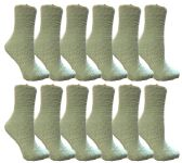 Yacht & Smith Womens Fuzzy Snuggle Socks Mint, Size 9-11 Comfort Socks BULK PACK