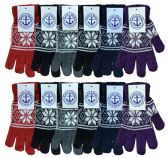 Yacht & Smith Snowflake Print Womens Winter Gloves With Stretch Cuff