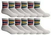 Yacht & Smith Men's King Size Cotton Sport Ankle Socks Size 13-16 With Stripes Bulk Pack
