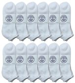 Yacht & Smith Men's King Size No Show Ankle Socks . Size 13-16 White Bulk Pack