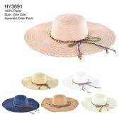 Womens Paper Sun Hat With Colored Rope Assorted