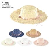 Womens Paper Sun Hat With Flower Rope Assorted Color