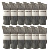 Yacht & Smith Men's King Size Premium Cotton Crew Socks Gray Size 13-16