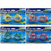 "5.5"" Swimming Goggles On Blister Card, 4 Assorted Designs"