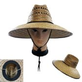 Straw Sun Hat [Open Weave] Brown Trim