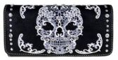 Montana West Sugar Skull Collection Wallet Black White
