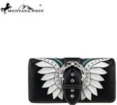 Montana West Buckle Collection Wallet Black White