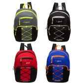 """17"""" Classic Bungee Backpack in 4 Assorted Colors with side Mesh Water Bottle Pockets"""