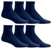 Yacht & Smith Men's Loose Fit Non-Binding Soft Cotton Diabetic Quarter Ankle Socks,Size 10-13 Navy