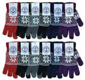 Yacht & Smith Womens Warm And Stretchy Snow Flake Print Winter Gloves