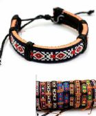 Embroidered Pattern Faux Leather Bracelet