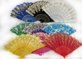Colorful Fans Assorted Flower Prints with Gold Accents