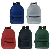 17 Inch Kids Classic Backpack in 5 Solid Colors