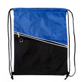 Premium Drawstring Cinch Backpacks with Zipper Pocket in Blue