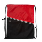 Premium Drawstring Cinch Backpacks with Zipper Pocket In Red